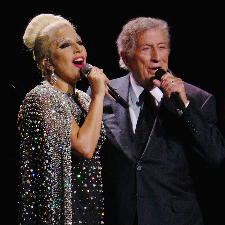Lady Gaga falls on stage during duo with Tony Bennett