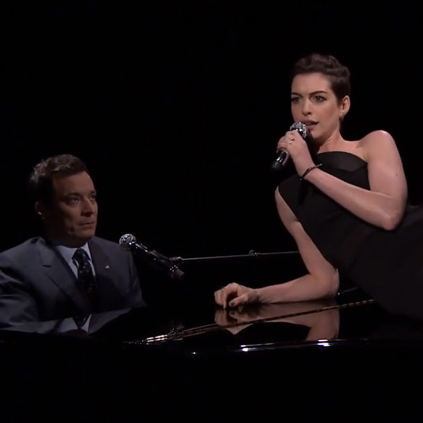 Anne Hathaway + Jimmy Fallon Sing Broadway Versions Of Rap
