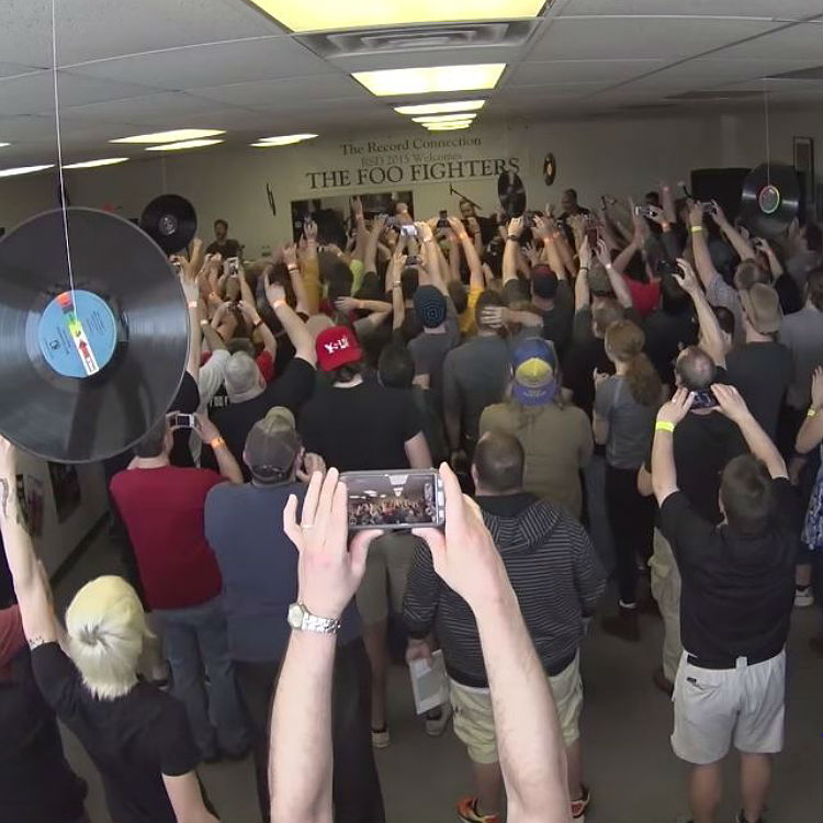 Watch footage of Foo Fighters' tiny record store gig