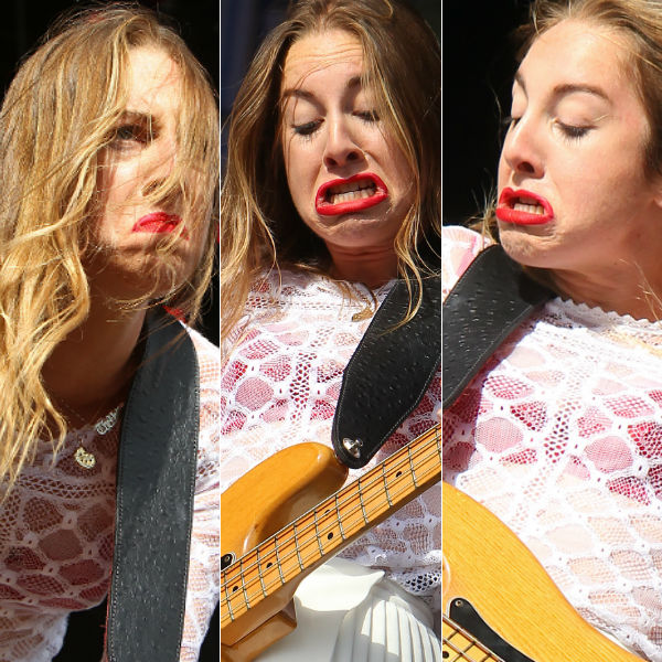 haim prove themselves masters of bass face at glastonbury