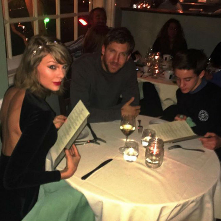 Taylor Swift Calvin Harris Instagram photo young fan joins for dinner